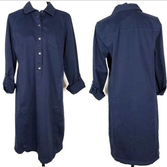 J. Jill Dresses & Skirts - J Jill Live In Chino Navy Shirt Dress Size 10